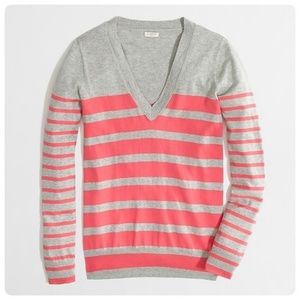 J. CREW v neck striped coral & grey sweater